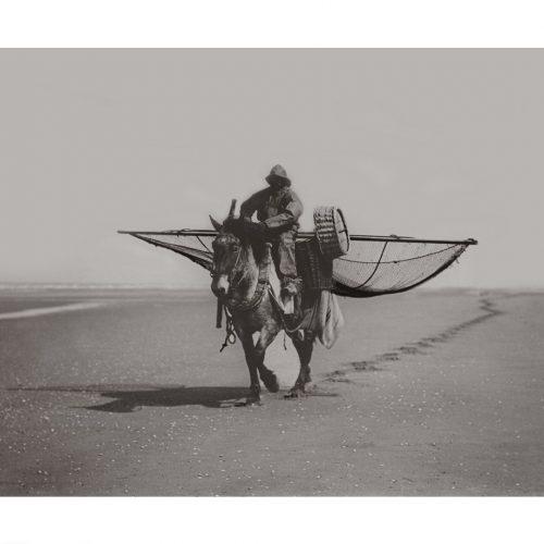 Photo d'époque mer n°40 - pêche à cheval à la crevette