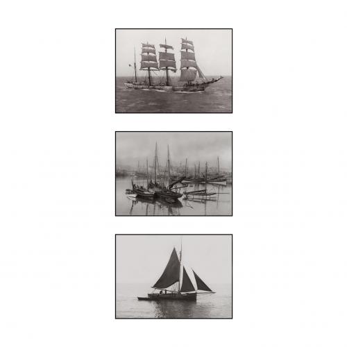 Photo d'époque mer n°43 - triptyque - bateaux