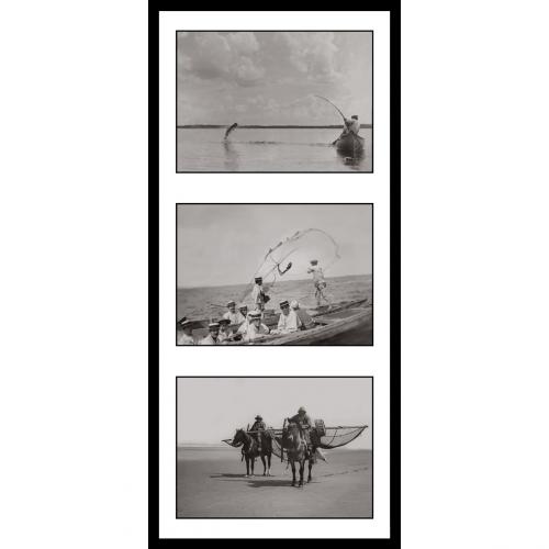 Photo d'époque Pêche n°69 - triptyque - 2 1ères photos de Victor Forbin