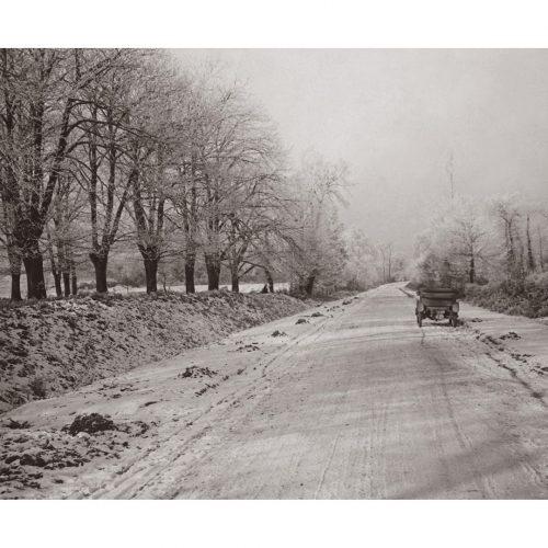 Photo d'époque Automobile n°67 - route de Bellac sous la neige - 1914