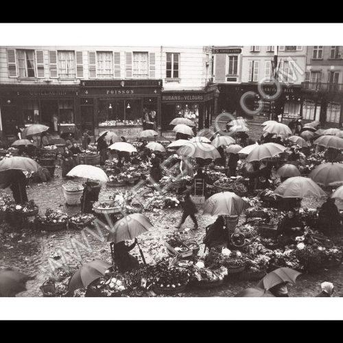 Photo d'époque Chartres n°01 - Marché de Chartres sous la pluie