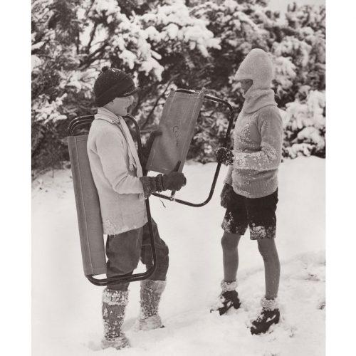 Photo d'époque Montagne n°79 - enfants dans la neige
