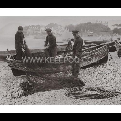 Photo d'époque pêche n°73 - nettoyage filets pêche - Sidmouth, Angleterre