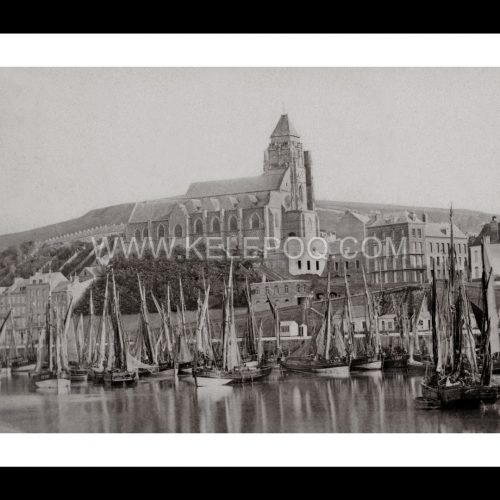 Photo d'époque Le Tréport n°01 - le port et l'église Saint-Jacques