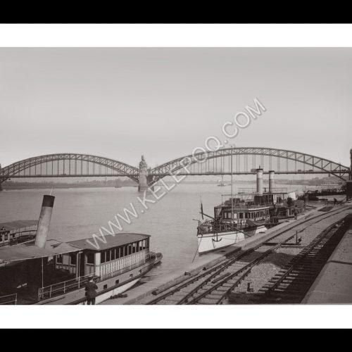 Photo d'époque Düsseldorf n°04 - Pont du Rhin - 1901