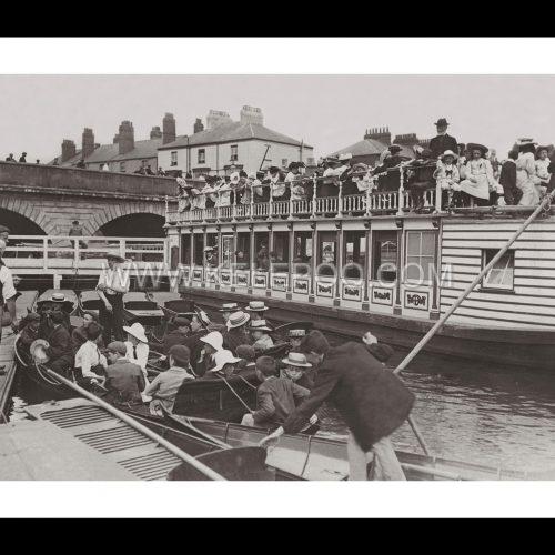 Photo d'époque sur l'eau n°24 - bateaux Tamise - Folly bridge - Oxford (Angleterre)