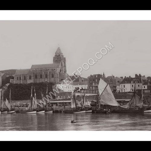 Photo d'époque Le Tréport n°02 - port et église Saint-Jacques