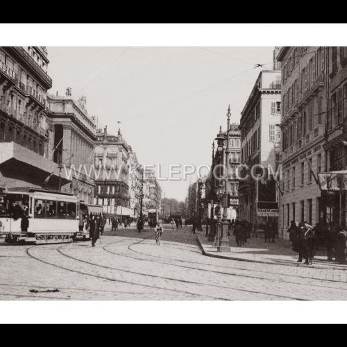 Photo d'époque Marseille n°02 - ancien tramway - rue Reine Elisabeth - Bourse