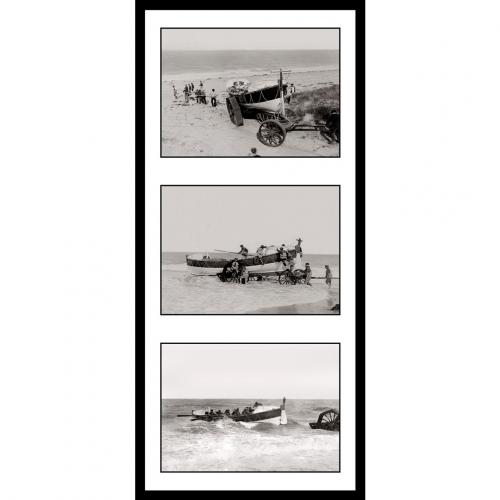 Photo d'époque sur l'eau n°34 - triptyque - bateau de sauvetage en mer