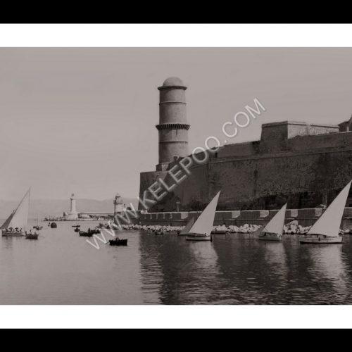 Photo d'époque Marseille 13 - Régate - entrée du Vieux Port - 1900