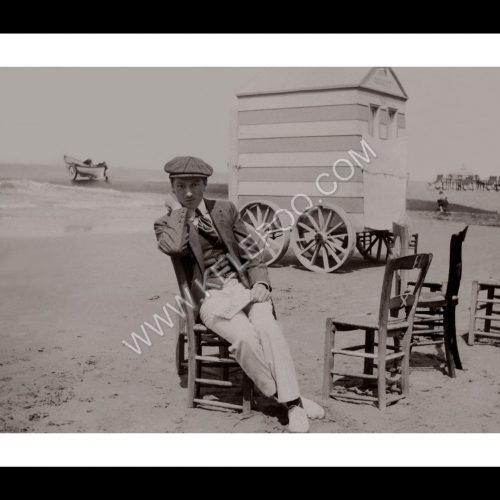 Photo d'époque Mer n°66 - cabine de bain - plages du Nord