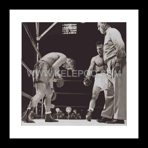 Photo d'époque SPORT n°69 - Marcel Cerdan (à droite) vainqueur et Champion du monde poids moyen 1948 face à Tony Zale