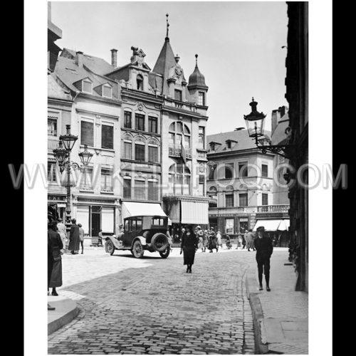 Photo d'époque Luxembourg n°05 - Rue Génistre - vue sur la place du Puits-Rouge - 1920