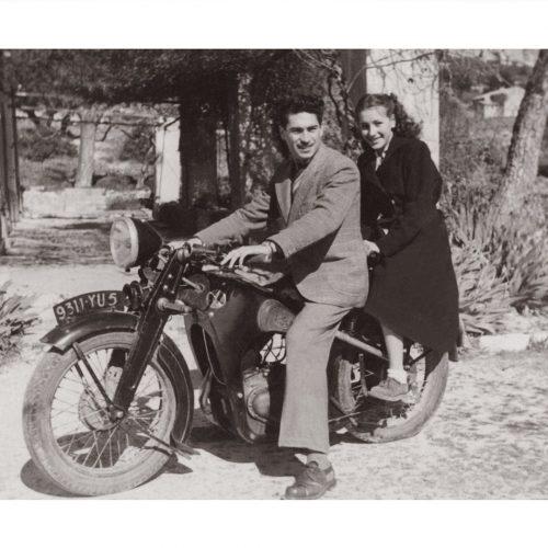Photo d'époque Cycles n°50 - couple à moto