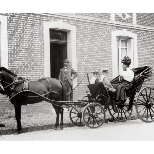 Photo d'époque Equitation n°61 - départ en charrette à cheval