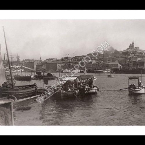 Photo d'époque Marseille n°15 - port et basilique Notre-Dame-de-la-Garde