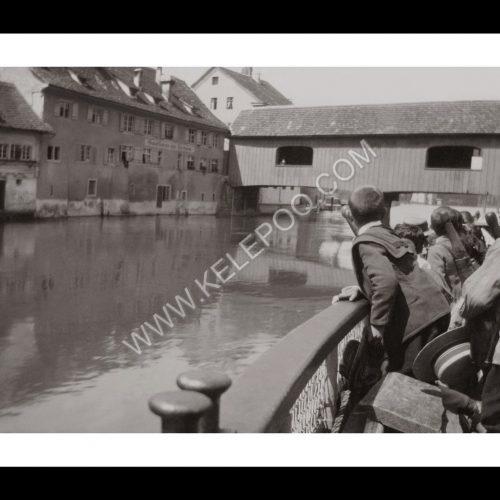 Photo d'époque Sur l'eau n°61 - Tour en bateau sur le Rhin Diessenhofen–Schaffhouse - Suisse - pont en bois Diessenhofen