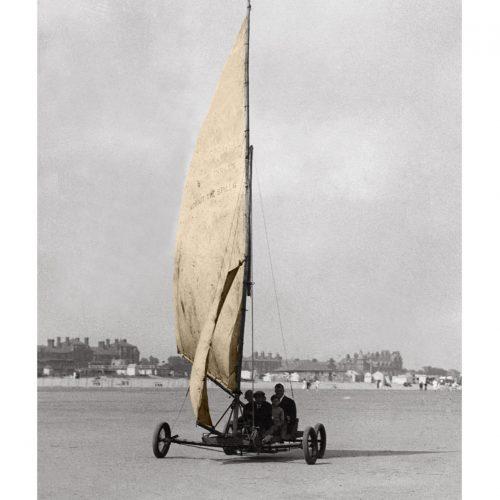 Photo d'époque Mer couleur n° 44 - char à voile plage de Skégness (GB) - Photographe Victor Forbin (60x90)