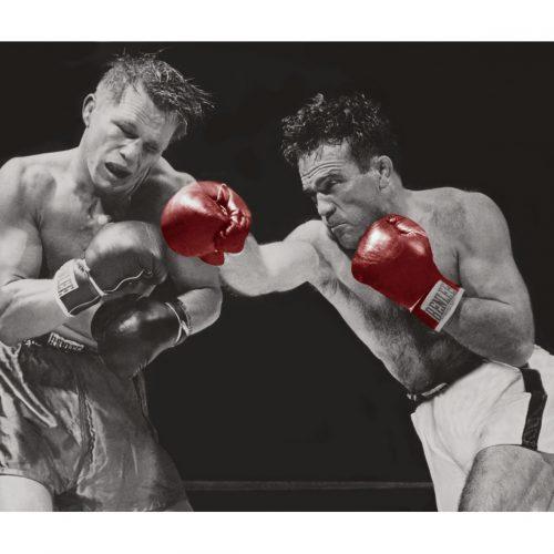 Photo d'époque SPORT couleur n°68 - Championnat du monde des poids moyen 1948 entre Marcel Cerdan et Tony Zale (1M50)