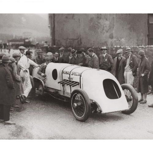 Photo d'époque Automobile n°85 - J. G. Parry-Thomas pilote automobile britannique lors de son record du monde de vitesse avec sa BABS à Pendine en avril 1926 - Photographe Victor Forbin