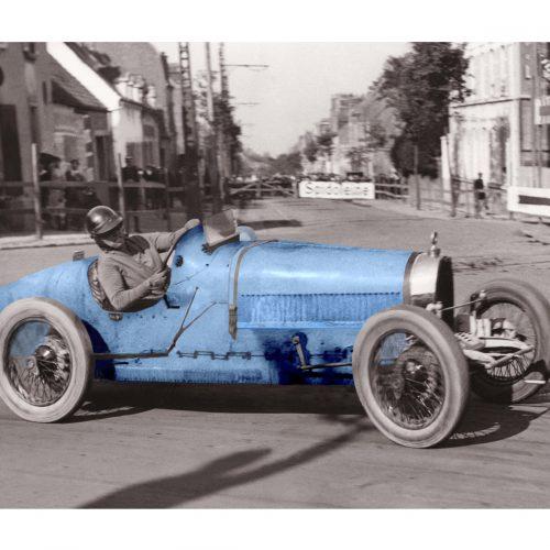 Photo d'époque Automobile en couleur n°88 - Ivy Cummings - Bugatti - Grand Prix de Boulogne - août 1926 - Photographe Victor Forbin
