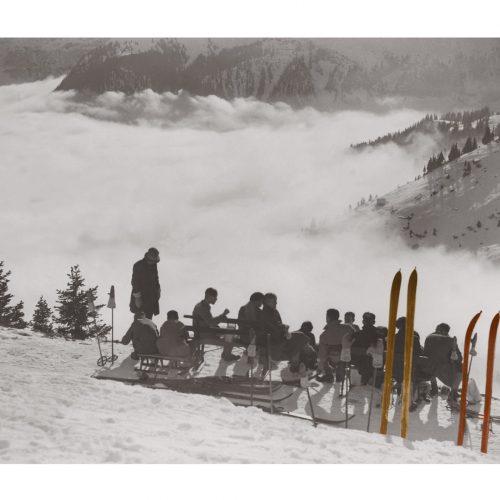 Photo d'époque Montagne couleur n°88 - pique-nique dans la neige